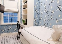 Cherry blossom wallpaper in a small bedroom