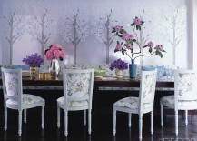 Cherry blossom wallpaper in the dining room of Cynthia Rowley