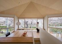 Cherry blossoms surrounding a modern interior