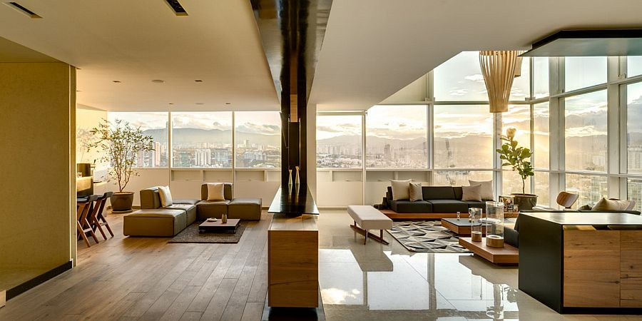 City skyline create a fabulous backdrop for the living room