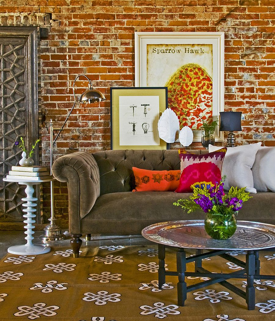 Classic Chester Sofa coupled with curated, vintage decor and smart lighting [Design: Coveted Home]