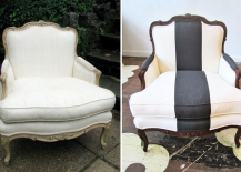 Creating a classic black and white armchair from a discarded old chair