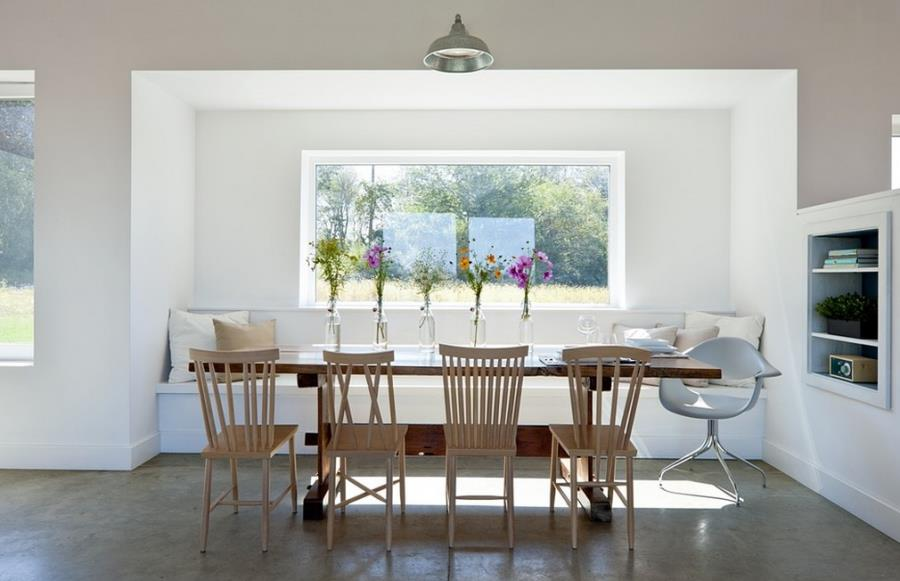 Classic trestle table in a modern dining room