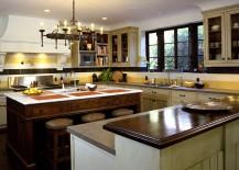 Classy Mediterranean kitchen with a striped backsplash