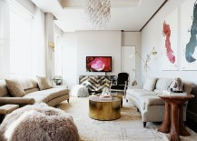 Classy contemporary living room is both fun and functional [Design: Laura Day Interior Design]