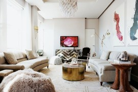 Classy contemporary living room is both fun and functional [Design: Laura Day Interior Design]  50 Fabulous Coffee Tables that Usher in a Golden Glint Classy contemporary living room is both fun and functional 270x180
