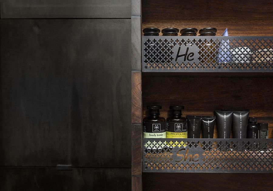 Clever way to organize the bathroom shelves for a couple