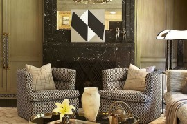 Coffee table brings geometric contrast to the elegant living space [Design: Kelly Wearstler Designs]  50 Fabulous Coffee Tables that Usher in a Golden Glint Coffee table brings geometric contrast to the elegant living space 270x180
