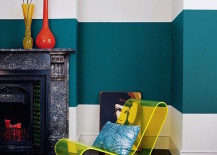 Color blocking featuring a large dark tuquoise stripe across wall 217x155 22 Clever Color Blocking Paint Ideas to Make Your Walls Pop
