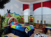 Colorful and creative Mickey themed kids bedroom 217x155 25 Disney Inspired Rooms That Celebrate Color and Creativity