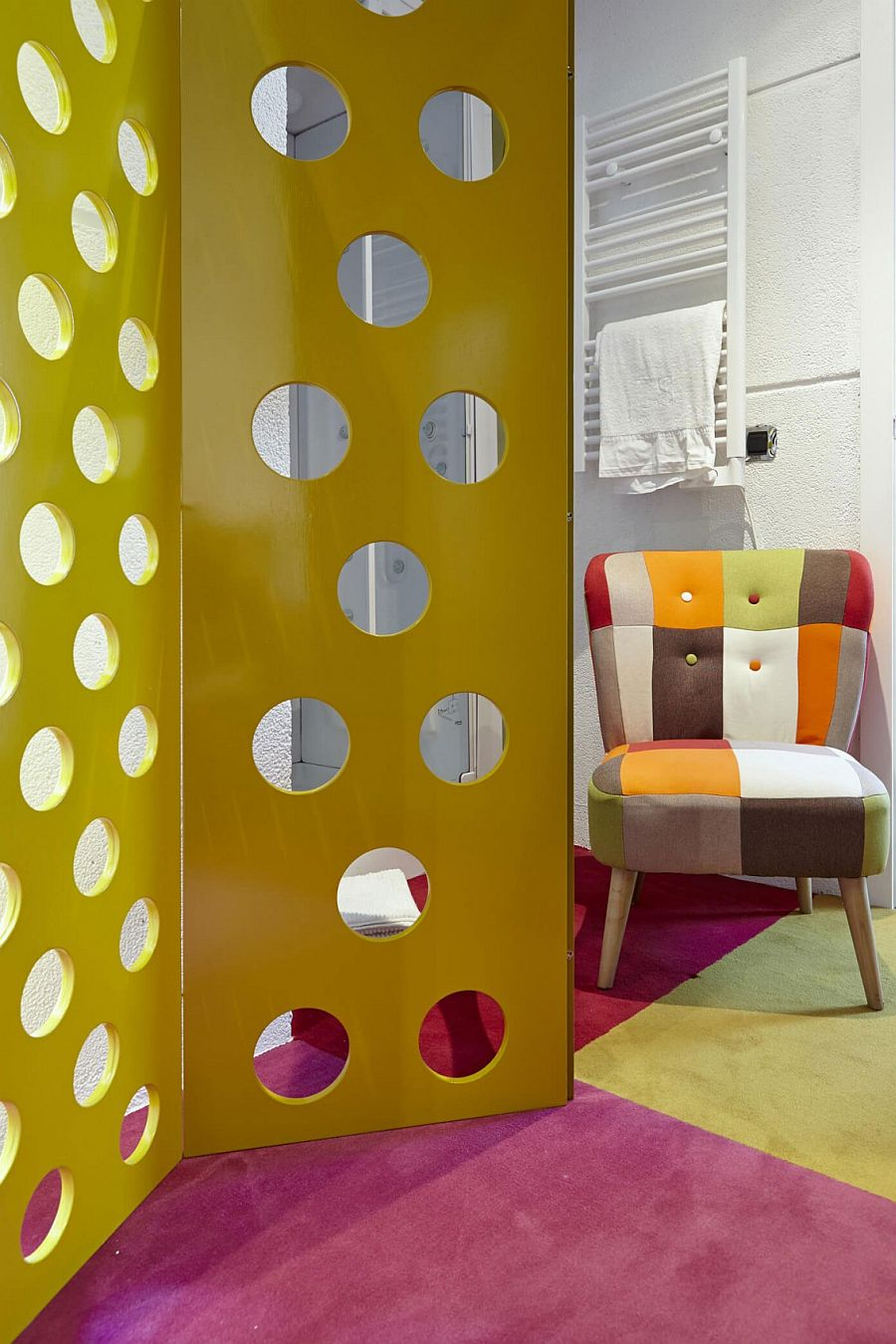 Colorful chair and partition for the eclectic interior