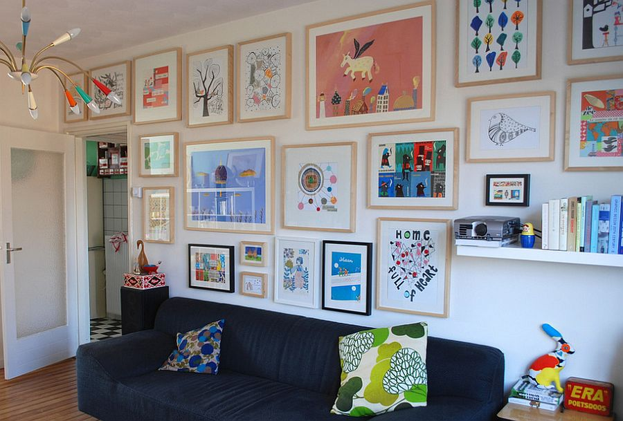 Colorful gallery wall for the eclectic living room [From: Ninainvorm]