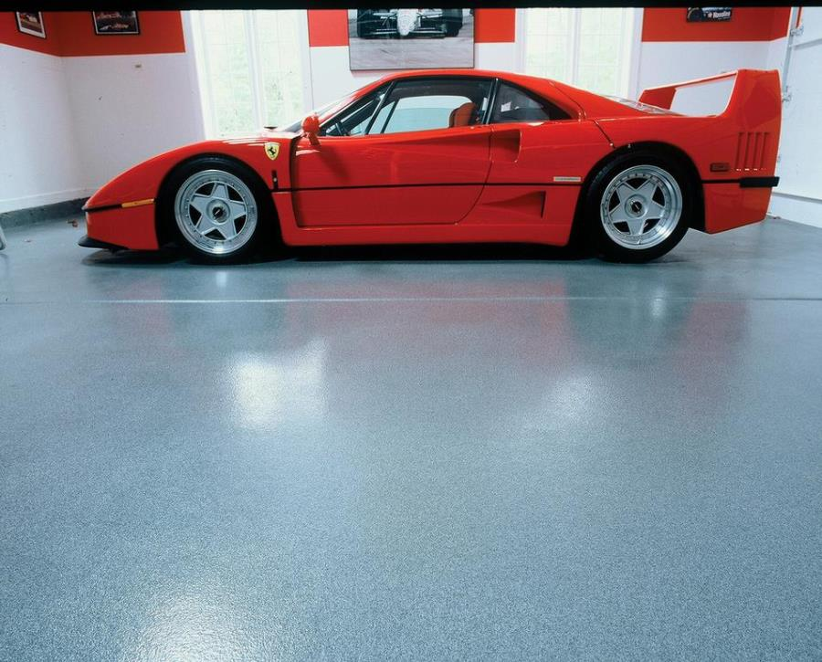 Colorful garage with an epoxy floor