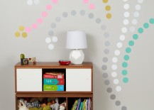 Colorful polka dot wall decals creating a design 217x155 8 Fun and Easy Ways to Use Polka Dot Wall Decals