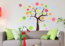Colorful tree made from polka dot wall decals 217x155 8 Fun and Easy Ways to Use Polka Dot Wall Decals