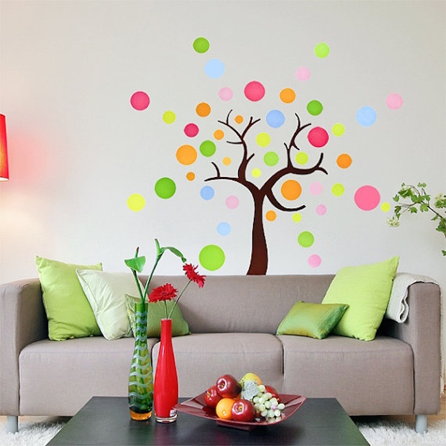 Colorful tree made from polka dot wall decals
