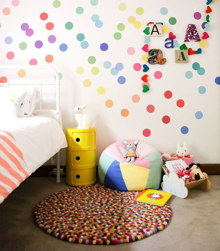 Polka Dot Wall Decals For Kids Rooms : ... confetti-style polka dot wall decals for childs bedroom - Decoist