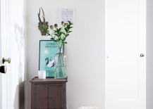 Compact table on a small entryway wall