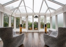 Conservatory for London home with plush seating