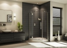 Contemporary frameless glass corner shower design 217x155 30 Creative Ideas to Transform Boring Bathroom Corners