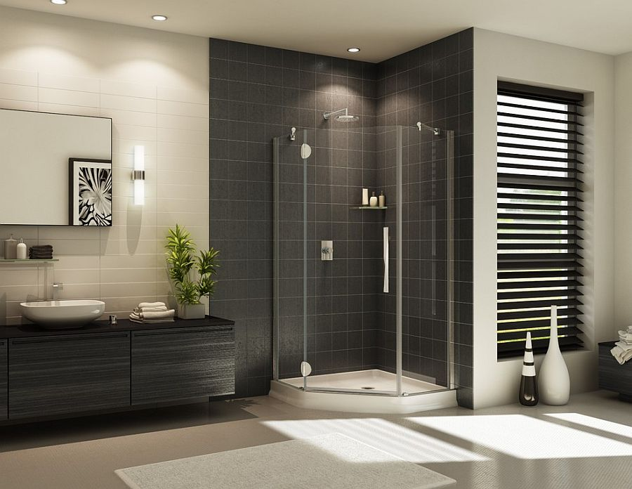 Contemporary frameless glass corner shower design [Design: Innovate Building Solutions]
