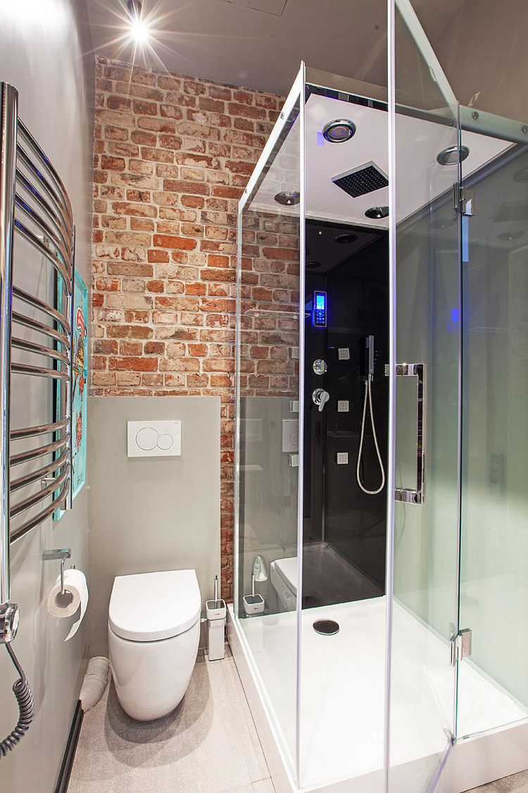 Contemporary glass shower area for the tiny bathroom