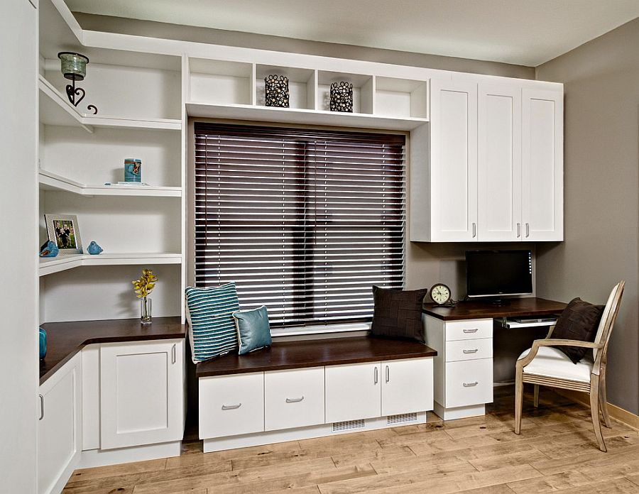 Contemporary home office with a Murphy bed