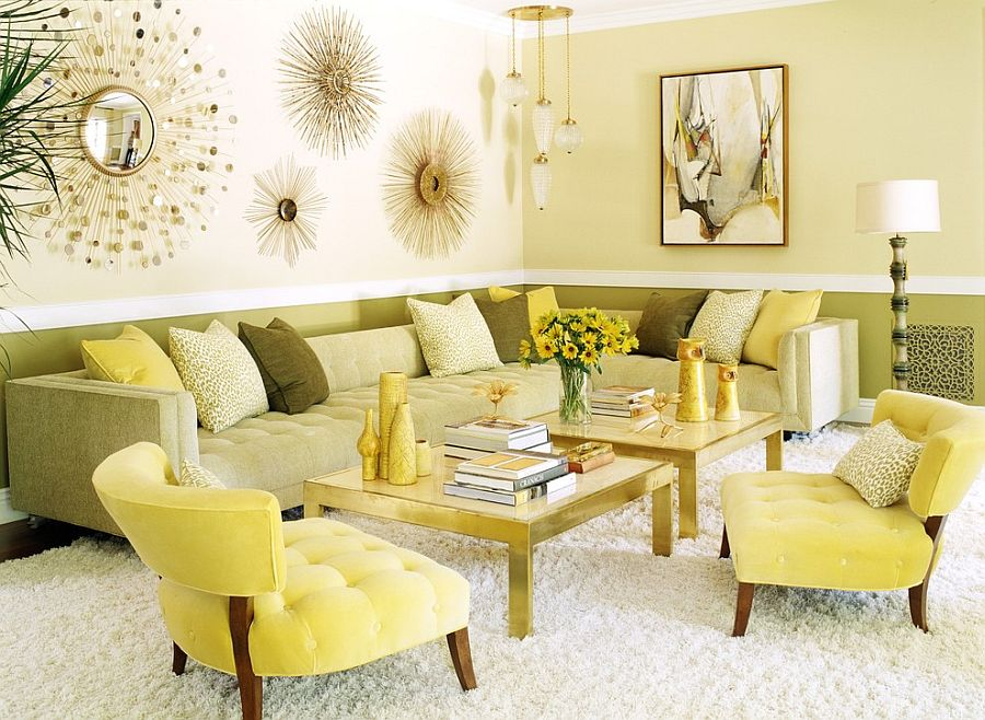 Contemporary living room with a fusion of Midcentury and modern touches [Design: Jeff Andrews Design]  50 Fabulous Coffee Tables that Usher in a Golden Glint Contemporary living room with a fusion of Midcentury and modern touches