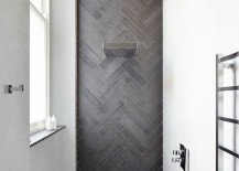 Contemporary shower featuring herringbone tile