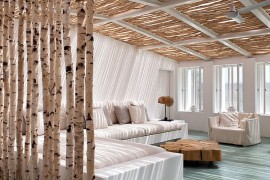 Contemporary sunroom with a beachy vibe and natural birch ceiling and partition  50 Bright and Beautiful Contemporary Sunrooms Contemporary sunroom with a beachy vibe and natural birch ceiling and partition 270x180