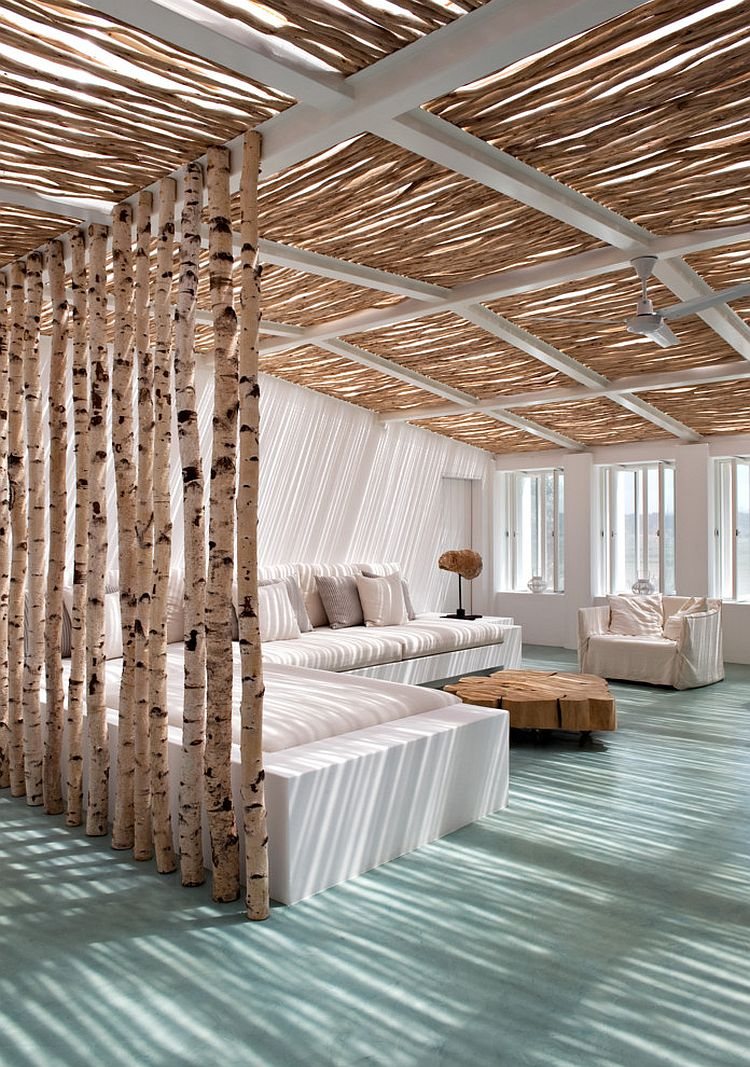 Contemporary sunroom with a beachy vibe and natural birch ceiling and partition