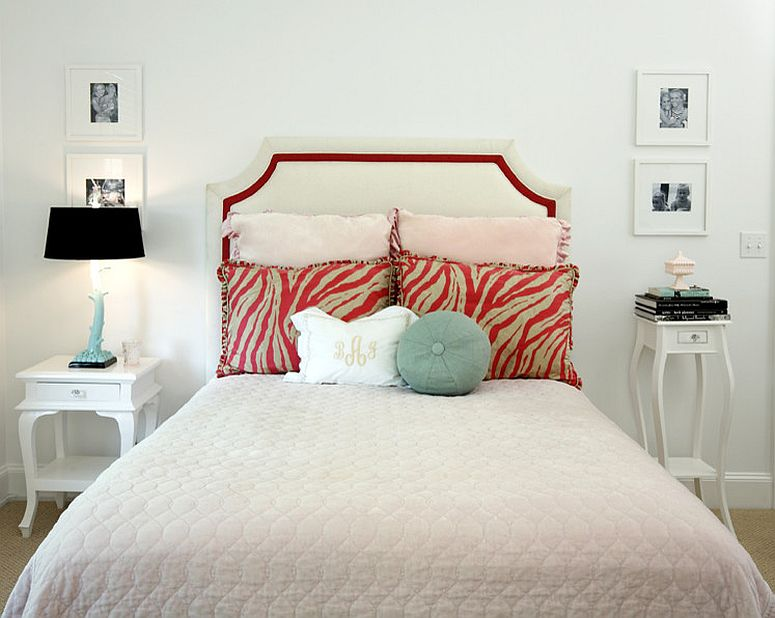 Contrasting bedside tables still share a common style