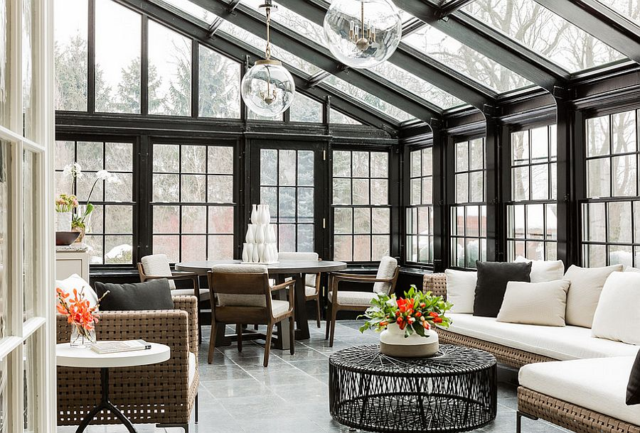 Cool conservatory that doubles as a lovely living space [Design: Terrat Elms Interior Design]  50 Bright and Beautiful Contemporary Sunrooms Cool conservatory that doubles as a lovely living space