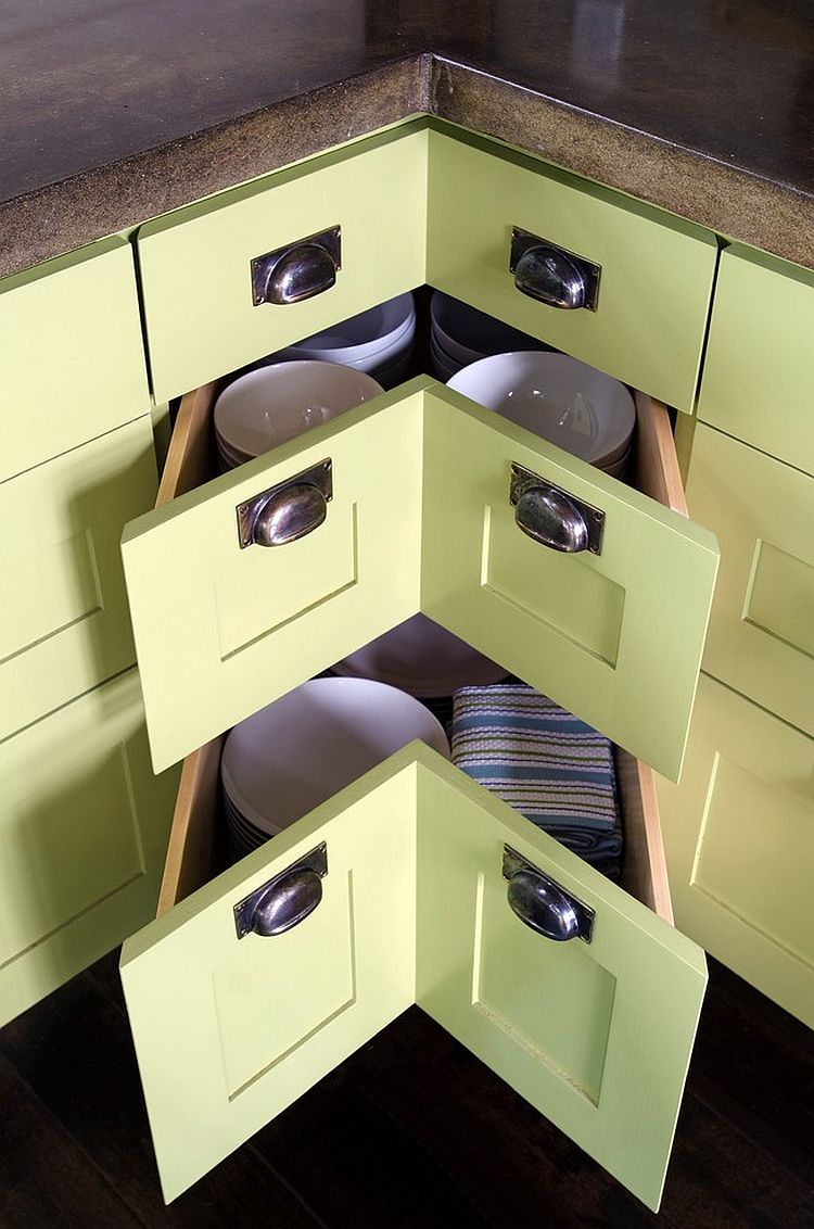 Cool corner pullout drawers for the contemporary kitchen in olive green [Design: Kristina Crestin Design]