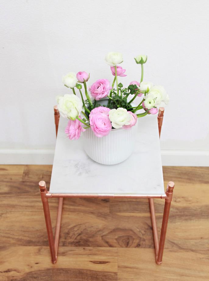 Copper pipe and marble plant stand from A Bubbly Life