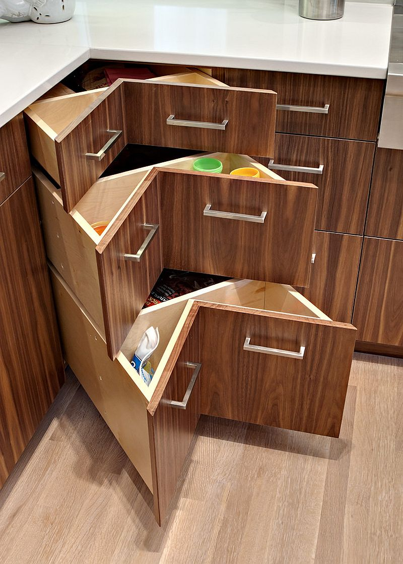 30 corner drawers and storage solutions for the modern kitchen Handleless kitchen drawers design