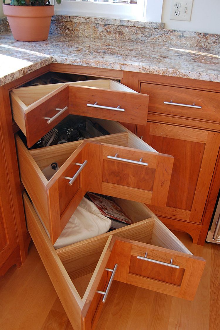 Corner pullout drawers in wood for the traditional kitchen and beyond [Design: Simpson Cabinetry]