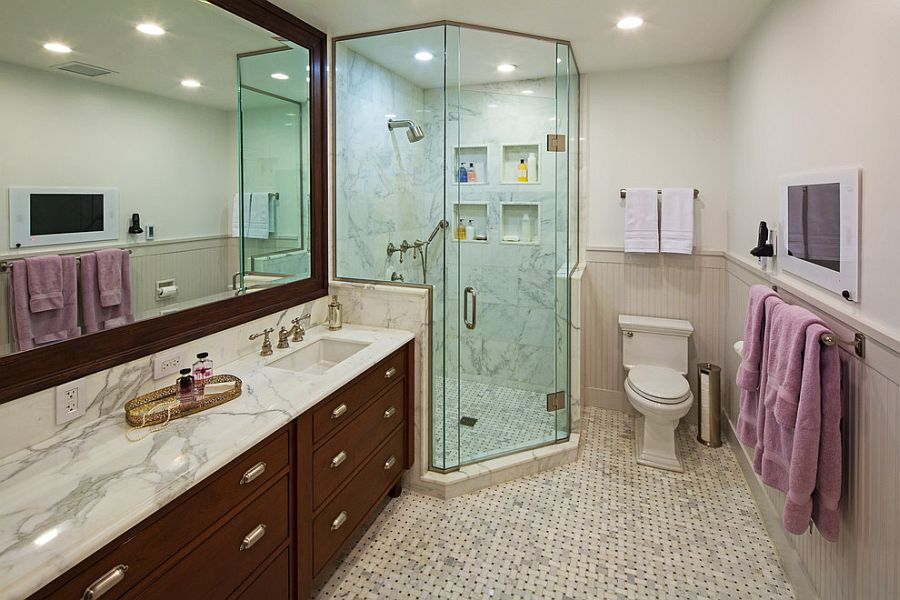 corner shower saves up on space in the narrow bathroom design thea home - Bathroom Remodel Corner Shower