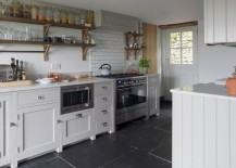 Cottage kitchen with large slate tile