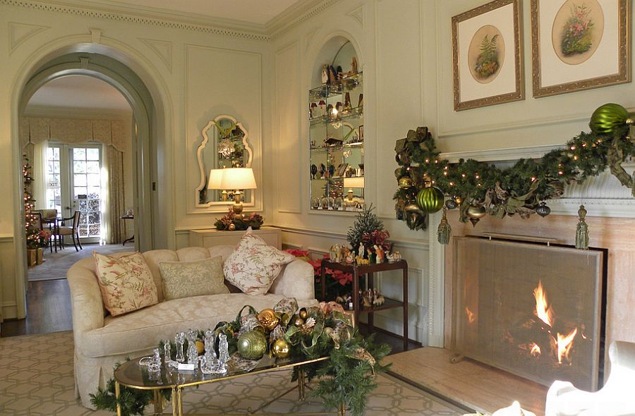 Cozy living room with gold leaf coffee table and festive joy! [From: Sarah Greenman]