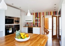 Creative and colorful striped accent wall for a crisp modern kitchen 217x155 Hot Trend: 20 Tasteful Ways to Add Stripes to Your Kitchen
