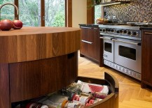 Curved drawers work well in corners as well