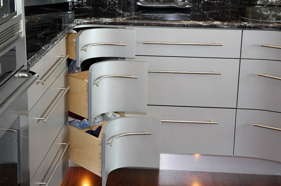 ... Curvy corner drawers steal the show in this kitchen [Design Grace Blu Designs] & 30 Corner Drawers and Storage Solutions for the Modern Kitchen
