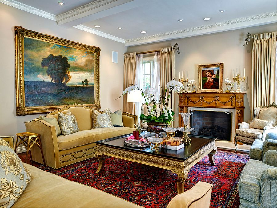 Custom-sized Palazzo Cocktail Table from Ebanista and a gold framed painting [Design: Stephanie Wallace & Associates]