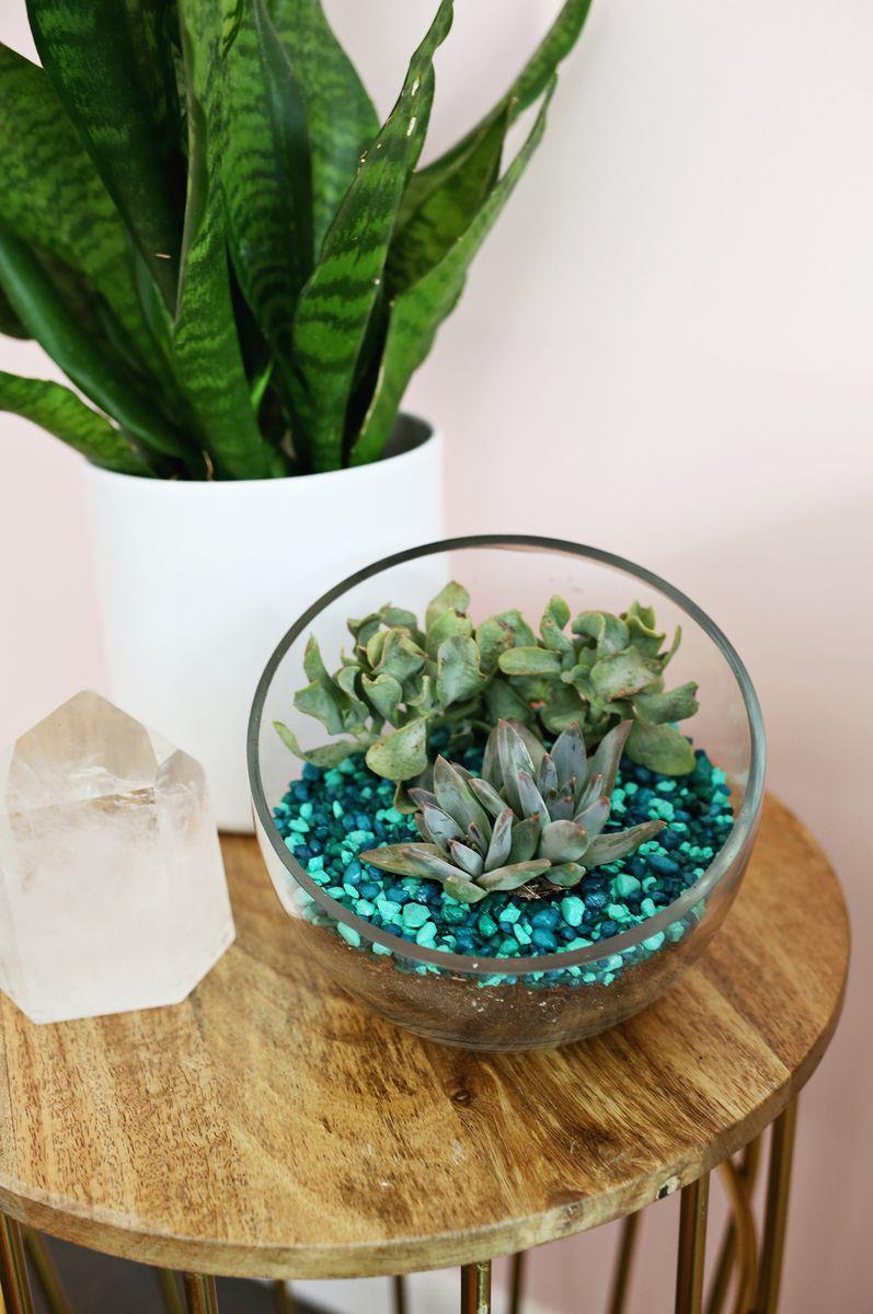 DIY aquarium rock planter from A Beautiful Mess