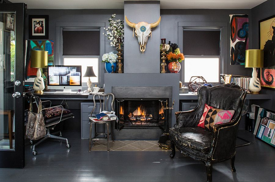 Dark and eclectic home office is a bold choice Hot Trend: 40 Gorgeous Ideas for a Sizzling Home Office with Fireplace