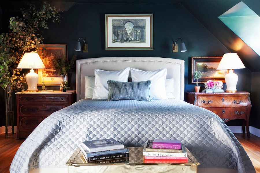 Dark, moody master bedroom with contrasting bedside tables [Design: Lindsay Pennington]