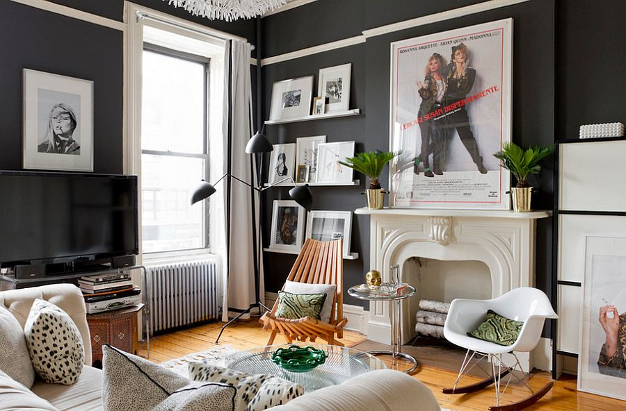Dark walls for the chic eclectic living space [Photography: Rikki Snyder]