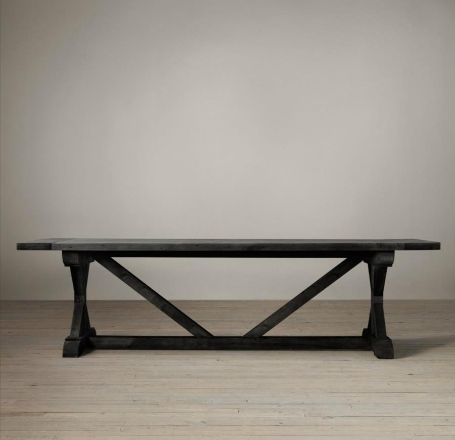 Dark wooden trestle table from Restoration Hardware