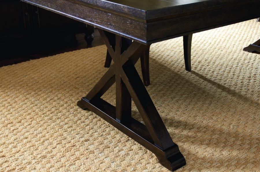 Dark wooden trestle table